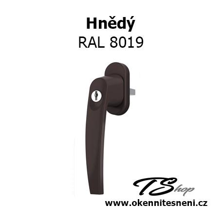 Okenni klika PLUTON s klíčkem Hnědá RAL 8019