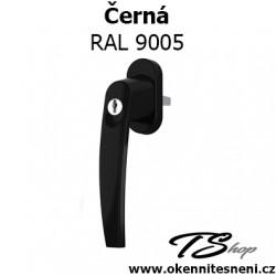 Okenni klika PLUTON s klíčkem Černá RAL 9005