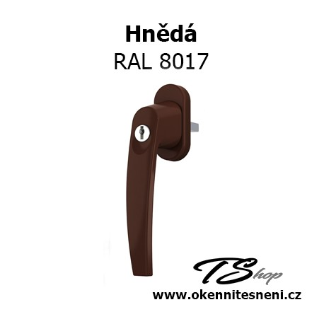 Okenni klika PLUTON s klíčkem Hnědá RAL 8017