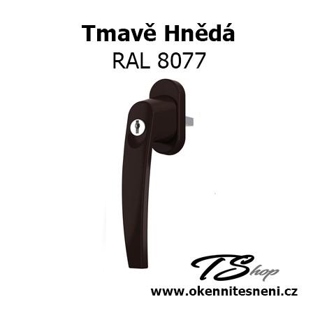 Okenni klika PLUTON s klíčkem Tmavě Hnědá RAL 8077