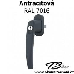 Okenni klika PLUTON s klíčkem Antracitová RAL 7016