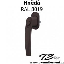Okenni klika PLUTON s tlačítkem Hnědá RAL 8019