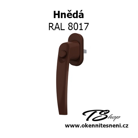 Okenni klika PLUTON s tlačítkem Hnědá RAL 8017